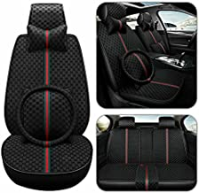 Aotiyer Car Seat Covers Full Set, Car Seat Covers with Headrest ,Lumbar Pillow and Steering Wheel Cover Vehicle Cushion Cover for Cars SUV Pick-up Truck Universal Fit Set for 5 Seats Car (Black)