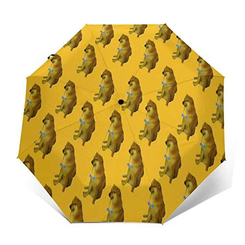 TISAGUER Paraguas automático de Apertura/Cierre,Doge Shiba Inu Orando Dorime Memes Fondo Simple,Paraguas pequeño Plegable a Prueba de Viento
