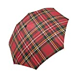 Red Plaid Windproof Automatic Open And Close Foldable Umbrella Travel Compact Unbreakable Rain And Sun Umbrella
