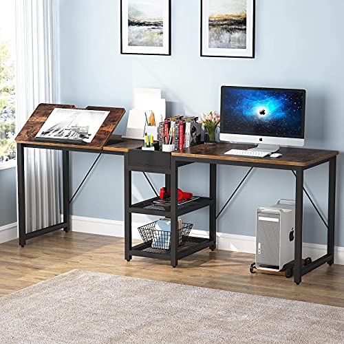 Tribesigns Double Computer Desk with Storage Shelves, Two Person Long Desk with Tiltable Drawing Tablet, Rustic Drafting Table Writing Studying Desk for Home Office Workstation