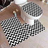 SINOVAL Bathroom Rug Sets 3 Piece,Modern Black and White Zig ZAG Pattern,Absorbent Non Slip Bath Set Shower Mat & U-Shaped Contour Mat & Toilet Lid Cover