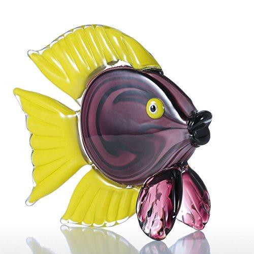 Tooarts Peces Tropicales Amarillos Escultura de Vidrio Decoración del Hogar Regalo del Ornamento Animal Decoración de Artesanía