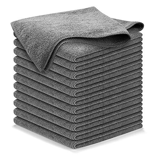 Microfiber Cleaning Cloth GREY-12Pcs (16x16 in) High Performance, 1200 Washes - Grip-Root Ultra-Absorbent Weave Traps Grime & Liquid for Streak-Free Mirror Shine - Scratch Proof & Lint Free -Towel