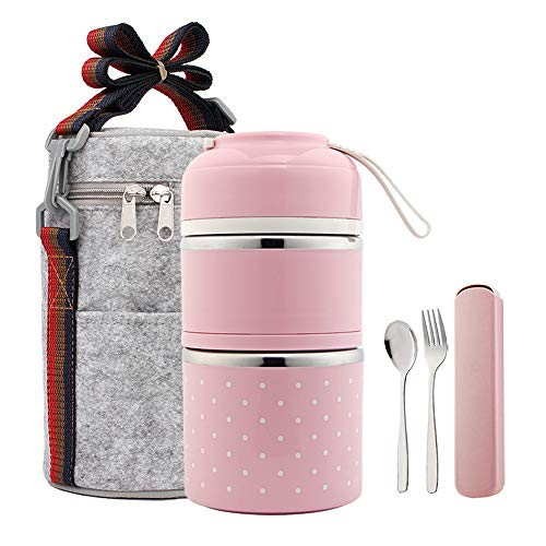 YBOBK HOME Bento Lunch Box Leakproof Stainless Steel Stackable Lunch Box with Bag and Reusable Flatware Set Thermal Food Storage Container for Healthy On-the-Go Meal and Snack Packing 2-Layer Pink