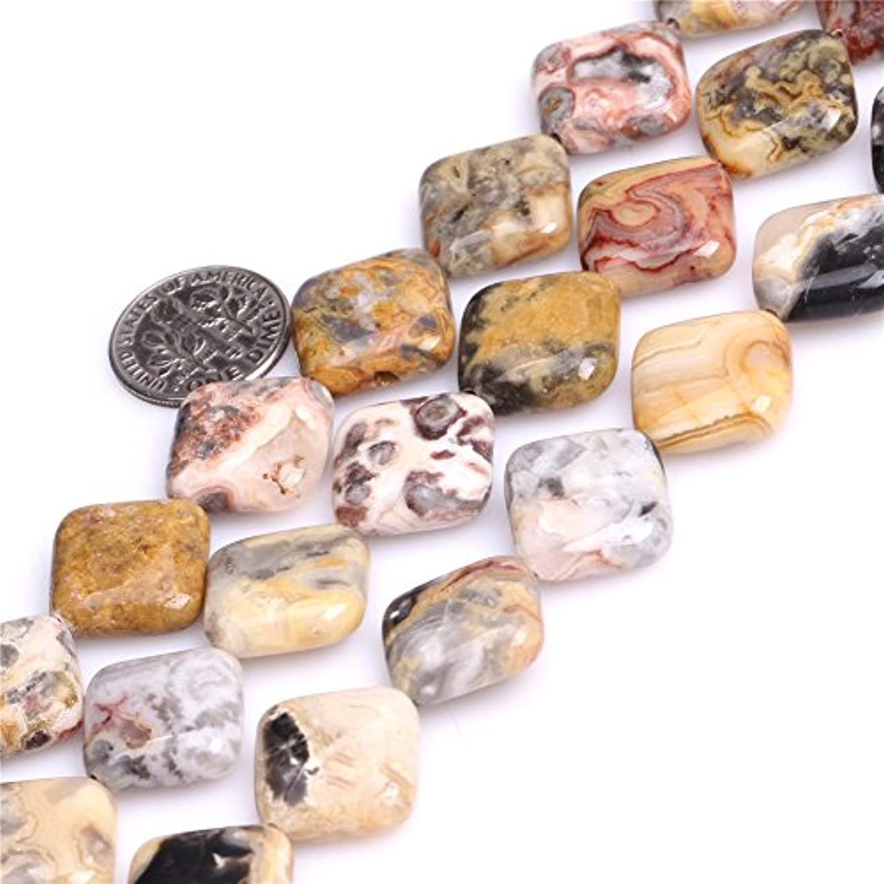 16mm Semi Precious Square Diagonally Crazy Agate Gemstone Beads for Jewelry Making Strand 15