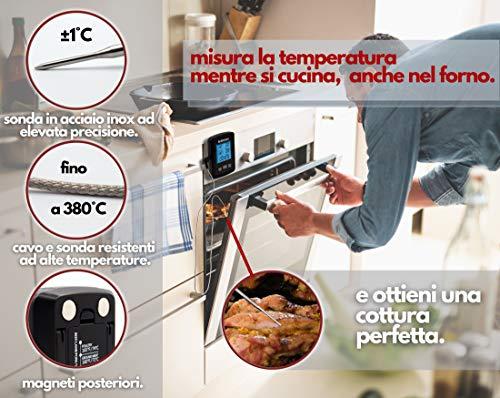 Termometro Cucina Professionale Digitale Doppia Sonda Acciaio Inox Lettura Istantanea LCD Impermeabile Timer Allarme Temperatura Termometro Barbecue Carne Liquidi Dolci Bbq Forno Griglia Alimenti Vino