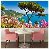 azutura Amalfiküste Italien Fototapete Pinke Blumen Tapete Landschaft Wohnkultur Erhältlich in 8 Größen Extraklein Digital
