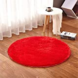 LIYINGKEJI Redondo Zona Alfombra para habitación de los niños alfombras niños Play Super Suave salón o Dormitorio Home Shaggy Alfombra 120 cm diámetro (47 Pulgadas de diámetro) (Rojo, Ronda 120 cm)