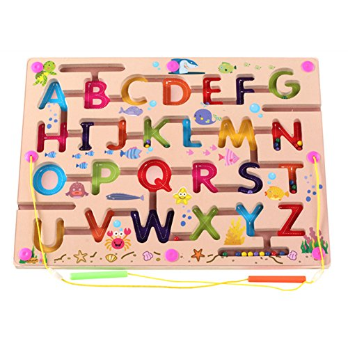 O-Toys Kids Maze Wooden Puzzle Activity Magnet Toys Beads Board Game Play Set...