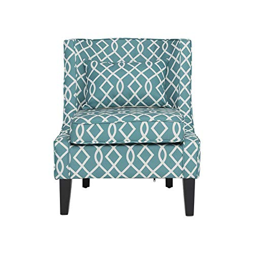 INMOZATA Occasional Chair Armless Comfortable Upholstered Accent Tub Chairs with Extra Cushion and Pad Armchair for Living Room Bedroom Dining Room, Hold Max Weight to 150kg (Teal with White)