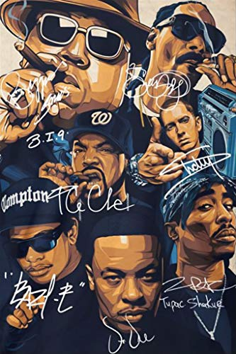 Inked and Screened Rap Legends Notorious Big Snoop Dogg Ice Cube Eminem Tupac Signature Poster, 12x18