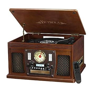 it.innovative technology Victrola Nostalgic Aviator Wood 8-in-1 Bluetooth Turntable Entertainment Center Espresso  Renewed