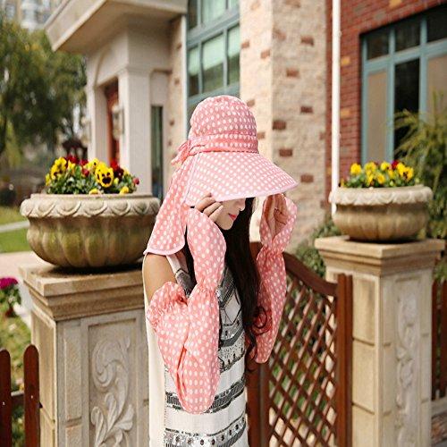 Inovey New da Donna Visiera Wave a Protezione Solare Antivento Estate Tessuto Punto dell' Onda Cappello da Sole con Maniche–Rosa