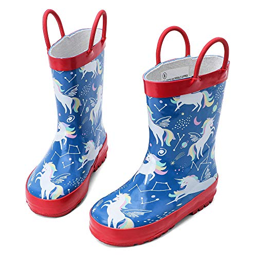 hiitave Toddler Rain Boots Waterproof for Girls Kids Boys with Pull On Rubber Handles Blue/Red Unicorn 6 M US Toddler