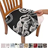 Comqualife Stretch Printed Dining Chair Seat Covers, Removable Washable Anti-Dust Upholstered Chair Seat Cover for Dining Room, Kitchen, Office (Set of 4, Black-B)