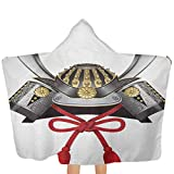 Hooded Beach Towel Japanese Bath Pool Beach Wearable Towels Classic Japanese Kabuto Mask Silver Custom Medieval Period Icon Print Use for Bath/Pool/Beach Swim Cover ups 51x32 Inch