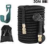 Alittle Garden Hose Expandable 100ft, Water Hose Pipe Made in 3 Layers of Latex, Solid Brass Fittings, 8 Different Functions Spray Pipes with Hose Hanger/Storage Bag(30m, Black)