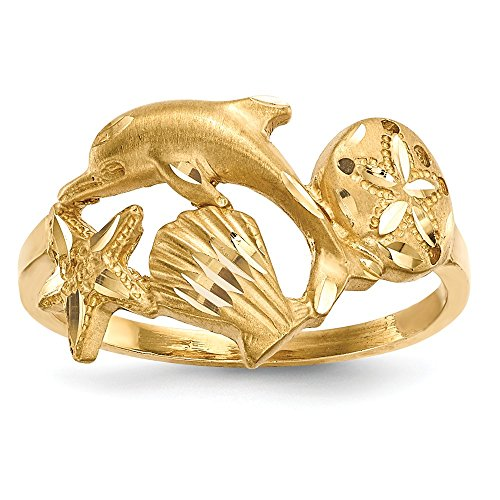 14k Yellow Gold Dolphin Starfish Sea Shell Mermaid Nautical Jewelry Sand Dollar Star Band Ring Size 7.00 Animal Life Fine Jewelry For Women Gifts For Her