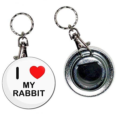 I Love My Rabbit - Portachiavi apribottiglie portachiavi con bottone distintivo da 55 mm