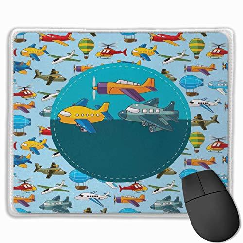 Nettes Gaming-Mauspad, Schreibtisch-Mauspad, kleine Mauspads für Laptop-Computer, Mausmattenparty Bunter Retro-Stil Verschiedene Cartoon-Flugzeuge Luftballons Zeppeline Jungen KidsMulticolor