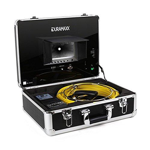 Duramaxx Inspex - Telecamera per Ispezioni, Monitor LCD a Colori 7', Registrazione Video Tramite USB, SD, RCA, Illuminazione 12 LED, Impermeabile fino a 2 bar, Telecomando, Nero, Cavo: 20 Metri