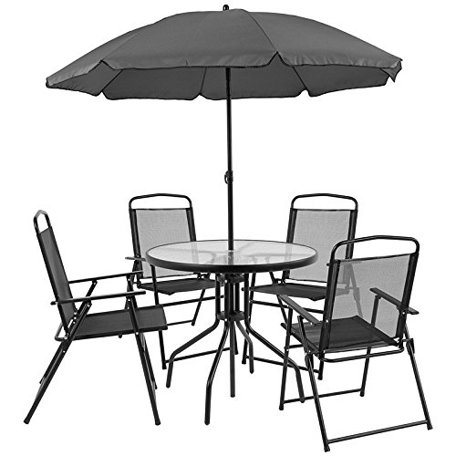 StarSun Depot Nantucket 6 Piece Black Patio Garden Set with Table, Umbrella and 4 Folding Chairs 31.25' W x 31.25' D x 28' H