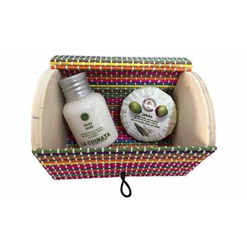 Miniaturas body milk 30 ml y jabón 20 gr con cofre de colores (Pack 24 ud)