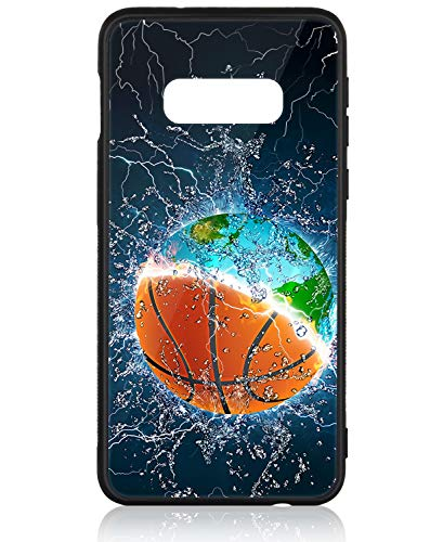 Samsung Galaxy s10e Case HuntHawk Anti-Drop TPU and Hard PC Scratch-Proof Glass Protector Cover Fit Samsung Galaxy s10e Phone Case for Girls Boys Earth and Basketball in Water
