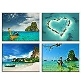 Piy Painting Cuadro sobre Lienzo - Imagen Hermosa Vista a la Playa - Impresión Escena Cielo Azul Boat Pinturas Murales Decor Dibujo con Marco para Sala Cumpleaños 4X 30x40cm