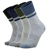 Ortis Men's 4 Pack Merino Wool Moisture Control Heavy Duty Work Boots Hiking Cushion Crew Socks(MixColor1 XL)