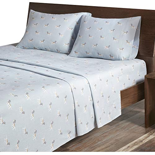 Woolrich Flannel Full Bed Sheets, Casual Lodge/Cabin Bed Sheet, Blue Dog Bed Sheet Set 4-Piece Include Flat Sheet, Fitted Sheet & 2 Pillowcases