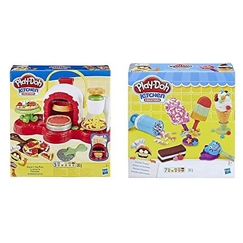Hasbro Play-Doh La Pizzeria, Play Set con 5 Vasetti di Pasta da Modellare, Multicolore, E4576Eu4 & Play-Doh- Play-Doh Gelati E Ghiaccioli, Multicolore, E0042Eu4