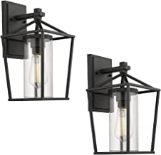 Emliviar Outdoor Porch Lights 2 Pack Wall Mount Light Fixtures, Black Finish with Clear Glass, 20065B1-2PK