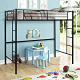 Metal Twin Loft Bed with Ladder, Heavy Duty Twin Size Loft Bed with Shelves, Metal Frame Bunk Bed 2 Stairs and Guard Rails for Kids Space Saver Bed Frame, Black