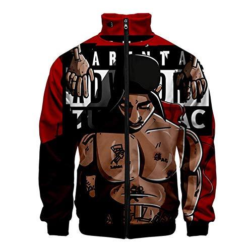 nobrand 2PAC Zipper Jacken Lässige Hoodies Coole Herbstfrühlingskleidung 2PAC Sweatshirt Streetwear Man Boy Langarmdruck