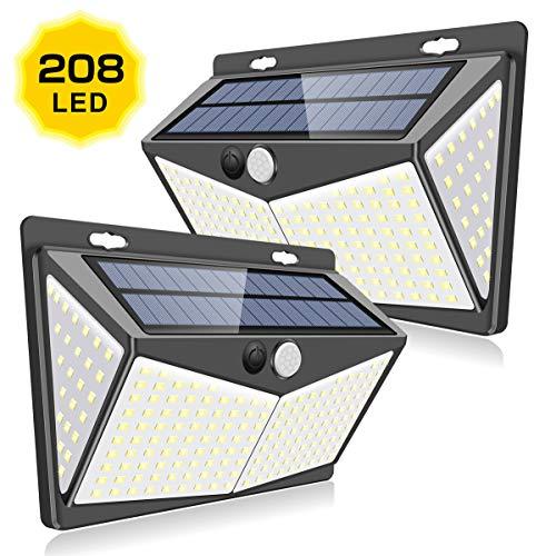 【最新版208LED】ZEEFO センサーライト ソーラーライト 4面発光 屋外照明 人感センサー 3つ点灯モード 防水...