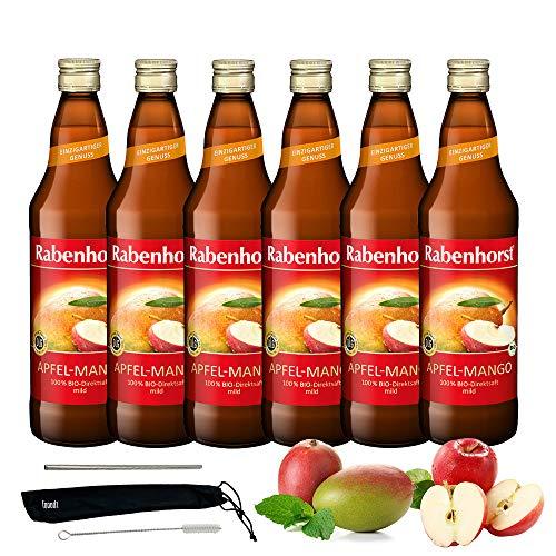 Rabenhorst Saft Apfel-Mango 6x 700ml Vegan Bio-Apfel-Mango-Saft - Direktsaft - Fruchtgehalt: 100% purer Fruchtgenuss PLUS fooodz-Trinkhalm Set mit Reinigungsbürste