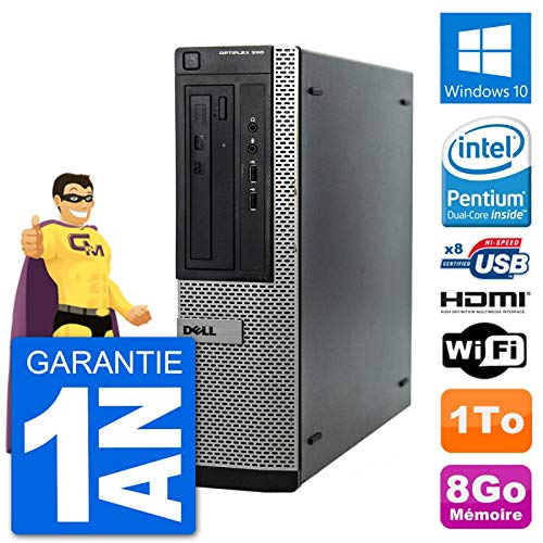 Dell PC OptiPlex 390 DT G630 RAM 8Go Disque Dur 1To HDMI Windows 10 WiFi (Reconditionné)