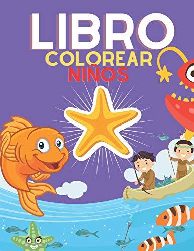 Libro colorear niños: Cuadernos para colorear, animales marinos, peces y más. Pintar para niños y niñas ,Libro para colorear el océano
