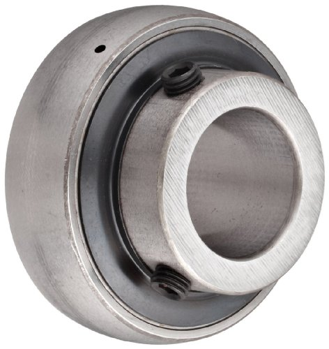 """SKF YAR 203-008-2F Ball Bearing Insert, Setscrew Locking, Contact Seals, Regreasable, Steel, 1/2"""" Bore, 40 mm OD, 12 mm Outer Ring Width"""