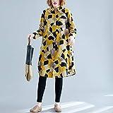 FENSHIX De Gran tamaño Suelta de Fino Estilo Occidental de Mitad de Longitud de la Camisa Cardigan Impreso Valioso (Color : Yellow, Size : XXXL)