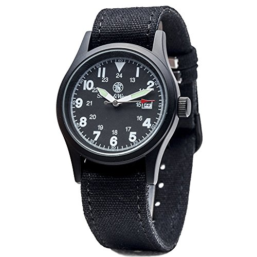Smith & Wesson 3ATM Watch with 3 Interchangeable Canvas Straps, Waterproof, Durable, 38mm