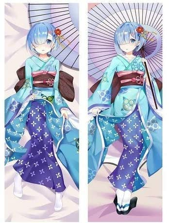 Promini Anime Re Zero Dakimakura Rem Kawaii Kimono Hugging Body Pillow Cover Anime Girls Cosplay DIY Custom Body Pillow Cover Pillowcases 20' x 54'