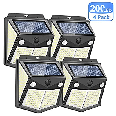 200LED Wireless Solar Lights Outdoor, Motion Sensor Solar Lights with [160° Detect Angle, 300° Lighting Angle], IP65 Level Waterproof Fence Security Lights for Garden, Yard, Garage, Pathway(4 Pack)