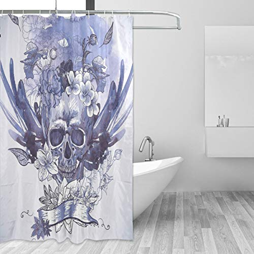 Montoj blauer Totenkopf-Duschvorhang, Badezimmer-Deko-Set mit Haken, 177,8 cm, langlebig & super-wasserdicht, 1 Panel 182,9 x 182,9 cm