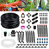 """Bearbro Garden Irrigation System,130ft/40M Drip Irrigation,Automatic Micro Irrigation Kits,1/4"""" Blank Distribution Tubing Hose+Adjustable Nozzle Great for Garden Greenhouse, Flower Bed,Patio,Lawn"""