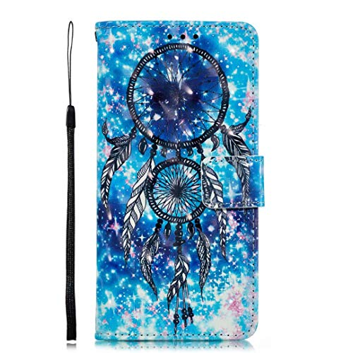 iPhone 12 Mini Phone Case, 3D Painted Shock-Absorption Flip PU Leather Notebook Wallet Cases Folio Magnetic Protective Cover TPU Bumper for iPhone 12 Mini with Stand Card Holder Slots Blue wind chimes