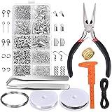 XRY Modeschmuck-Set, Reparatur-Werkzeug-Set mit Zubehör Schmuck Zangen und Perlen-Kabel, für Erwachsene, Anfänger: Plier, Pinzette, Silber und Draht