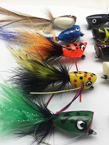 Poppers for Bass Pike Trout Fishing 10 Pack Prima Poppers with Weed-Guards Size 2 Saltwater Lures