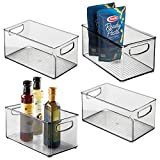 mDesign Plastic Stackable Kitchen Pantry Cabinet, Refrigerator or Freezer Food Storage Bin Container with Handles - Organizer for Fruit, Yogurt, Snacks, Pasta - BPA Free, 10' Long, 4 Pack - Smoke Gray